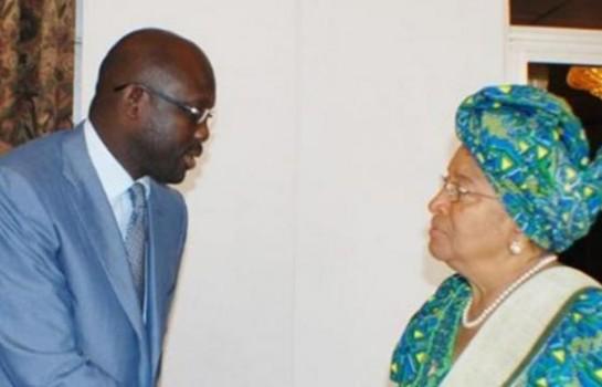 Georges Weah et la présidente sortante Ellen Johnson Sirleaf