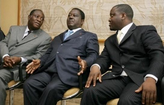 Alassane Ouattara, Henri Konan Bédié et Guillaume Soro en plein conciliabule