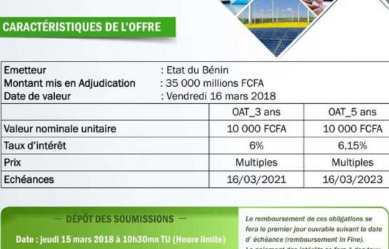 Marché financier- UEMOA : Le Bénin  à la recherche de 35 milliards FCFA