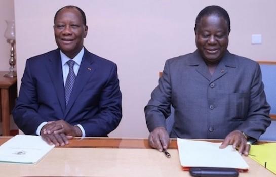 Ouattara et Bédié signent le manifeste du parti unifié