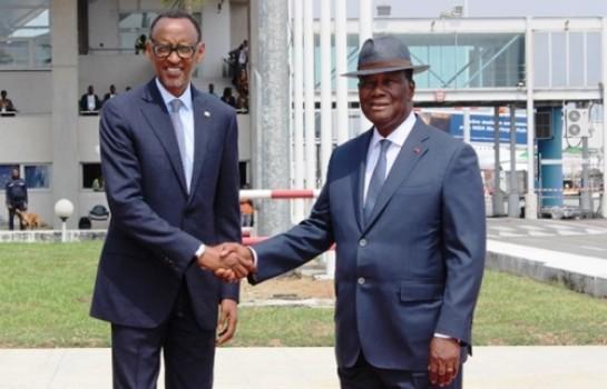 Alassane Ouattara accueille Paul Kagamé à Abidjan
