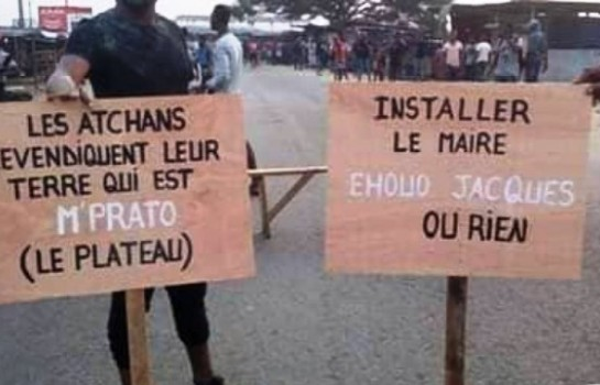 Installation d'Ehouo Jacques, ses soutiens manifestent