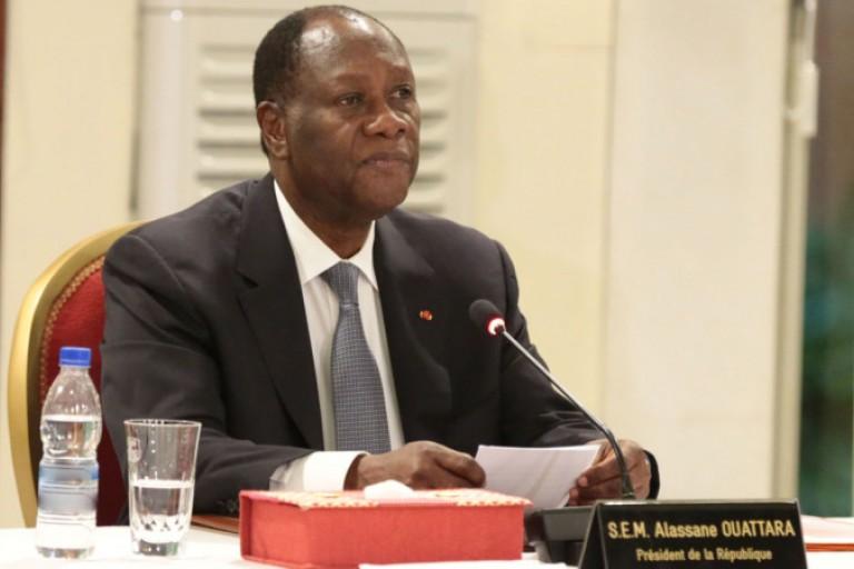 Alassane Ouattara lors d'un Conseil de ministres
