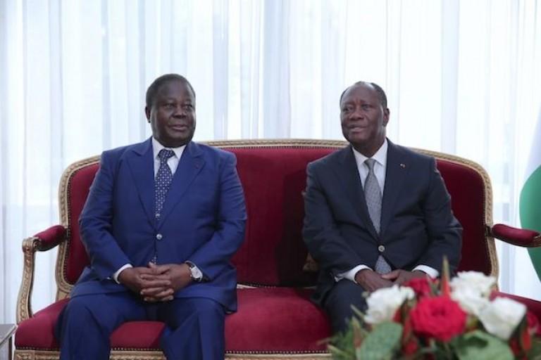 Bédié et Ouattara, les principaux leaders du RHDP lors d'une audiance