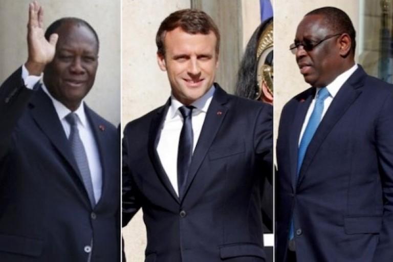Alassane Ouattara et Macky Sall chez Emmanuel Macron