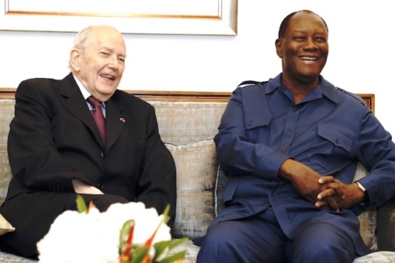 L'ex-DG du FMI , Michel Camdessus et le président Ouattara