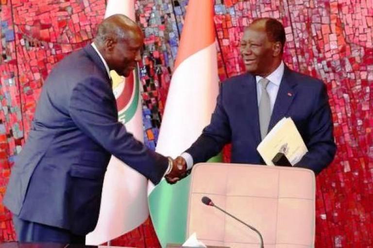 Daniel Kablan Duncan et Alassane Ouattara au palais présidentiel