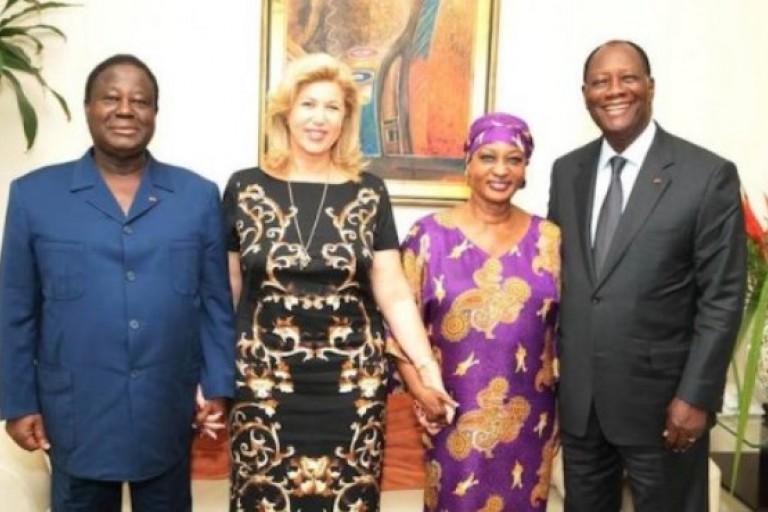 Dominique Ouattara et Henriette Bédié en compagnie de leurs époux