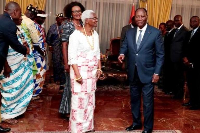 Nanan Akoua Boni II, Reine des Baoulé, chez Ouattara