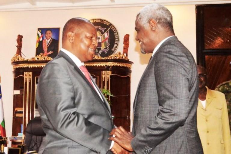 Le Président Touadéra et le Président de l'UA, Faki Mahamat. Une mission internationale de paix à Bangui