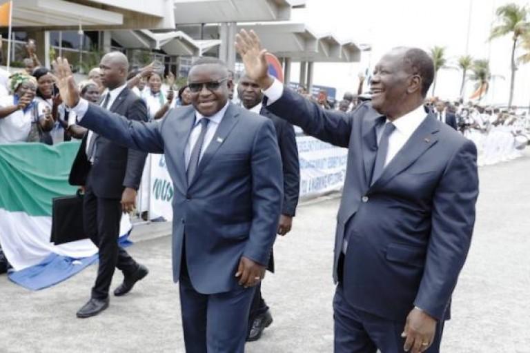 Visite de  Julius Maada Bio, à Alassane Ouattara