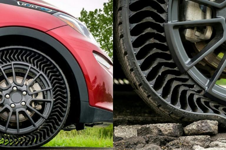Le Prototype du pneu increvable inventé par Michellin.
