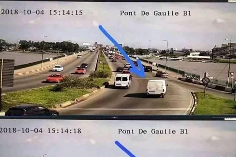 Pont De Gaulle : Chute d'une fourgonnette dans la lagune sur le Pont Général De Gaulle en 2018