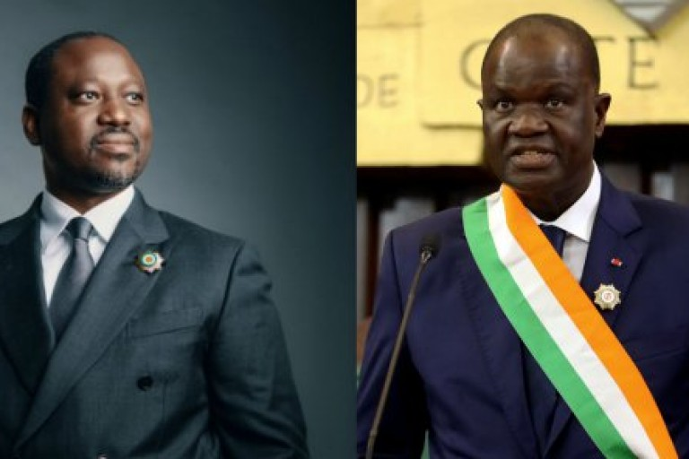 Guillaume Soro è gauche et Amadou Soumahoro à droite se livre une bataille pour la présidence de l'APF