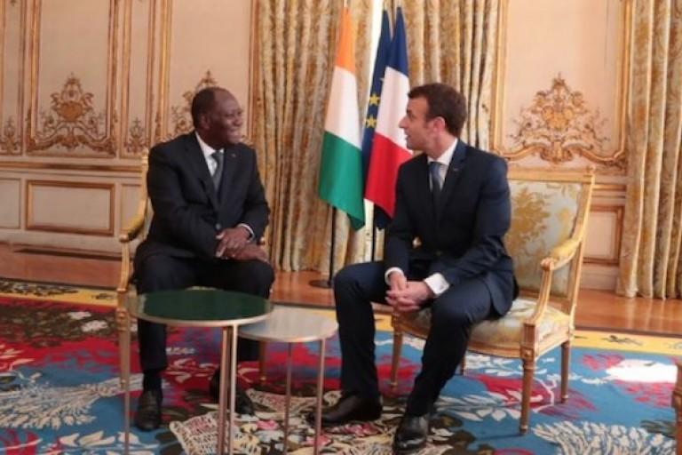 Alassane Ouattara et Emmanuel Macron à l'Elysée