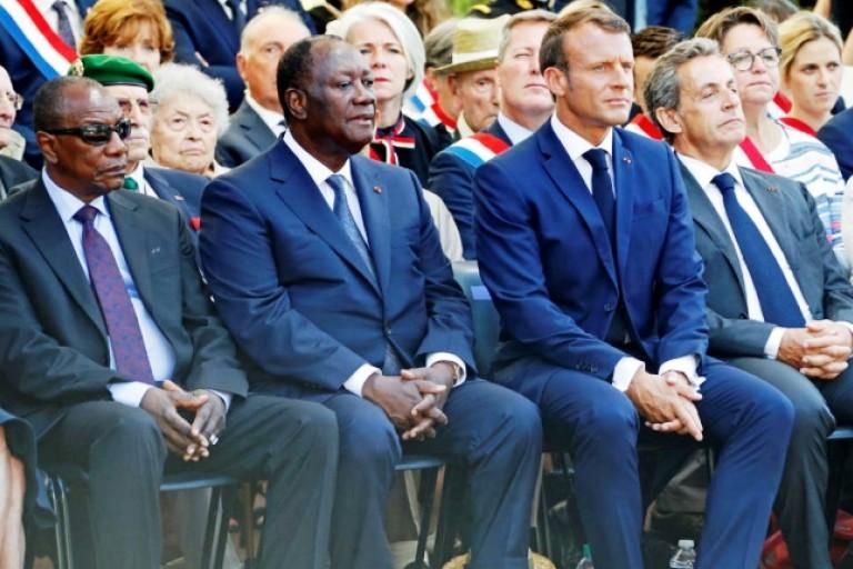 Alpha Condé, Alassane Ouattara, Macron et Sarkozy au Débarquement de Provence