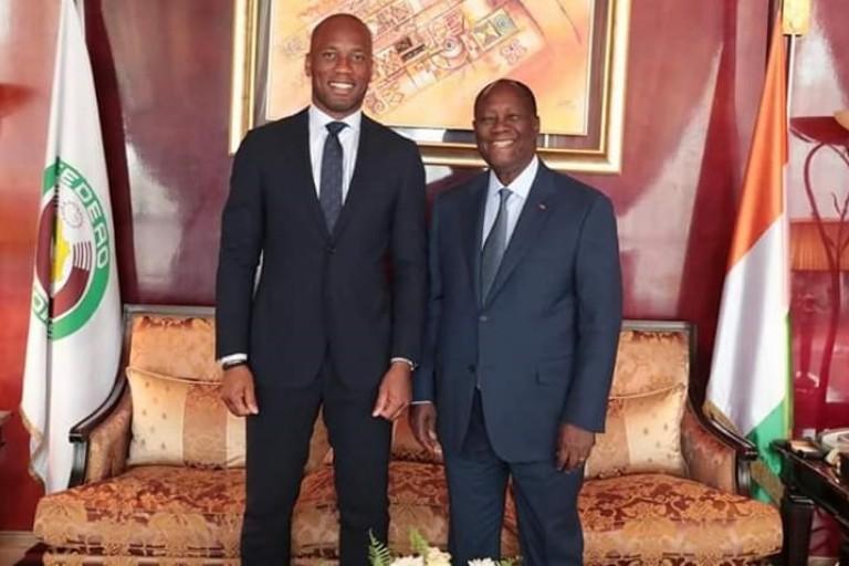 Didier Drogba reçu par Alassane Ouattara