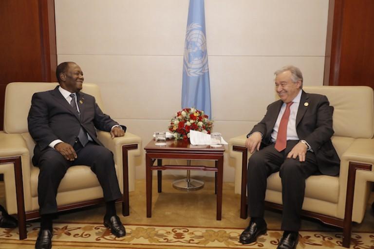 Le Président ivoirien Alassane Ouattara et Antonio Guterres, SG de l'ONU
