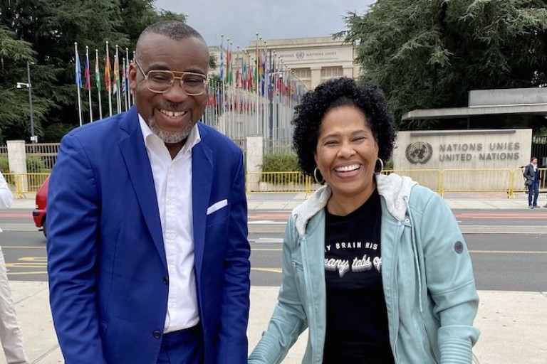 Nathalie Yamb et Boga Sako Gervais au siège de l'ONU à Genève