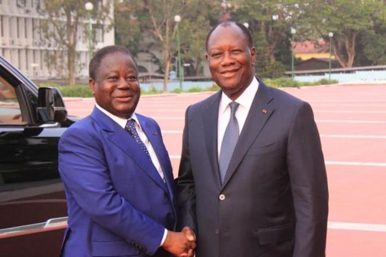 Alassane Ouattara et Bédié lors d'une rencontre à Abidjan