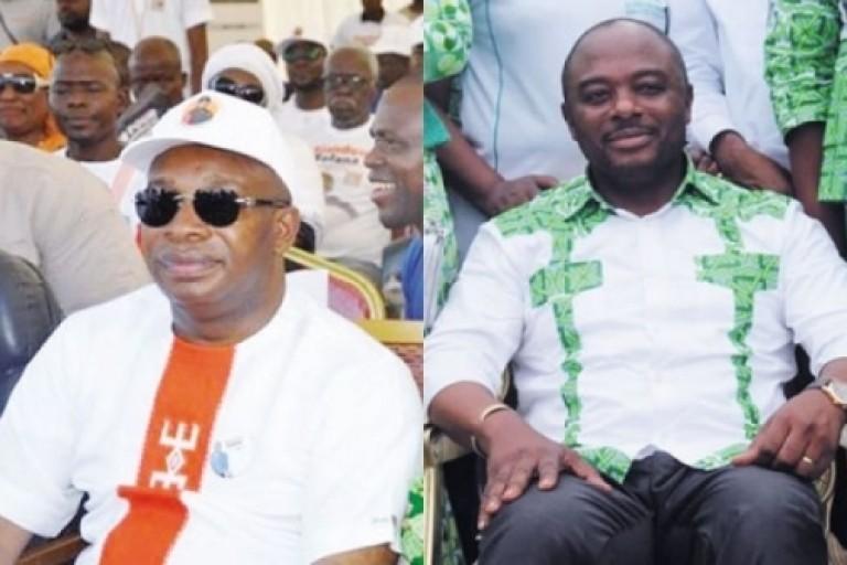 Le maire Emmou Sylvestre (à droite) est très remonté contre son adversaire Siandou Fofana (RHDP)