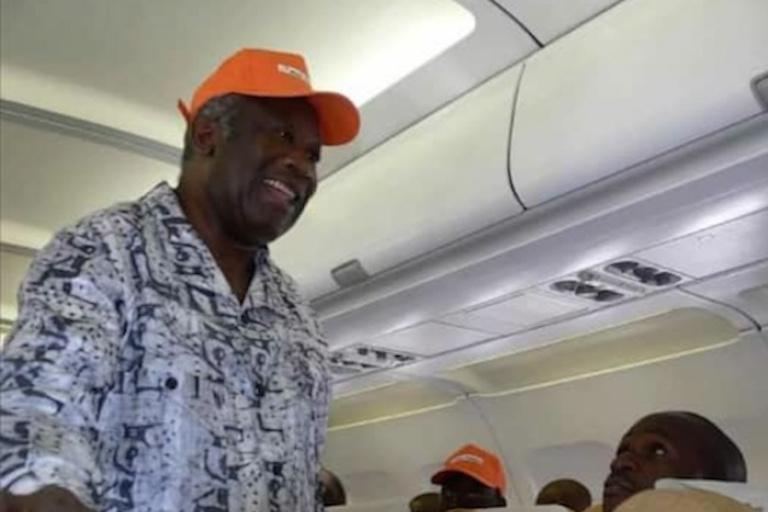 Laurent Gbagbo en avion