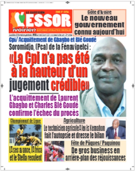 L'Essor ivoirien, Titrologie du 6 avril 2021