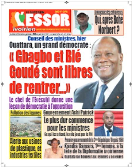 L'Essor ivoirien, Titrologie du 8 avril 2021 - Titrologue