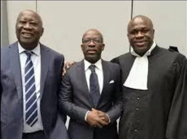 Me N'Dry Claver avec Laurent Gbagbo et Blé Goudé