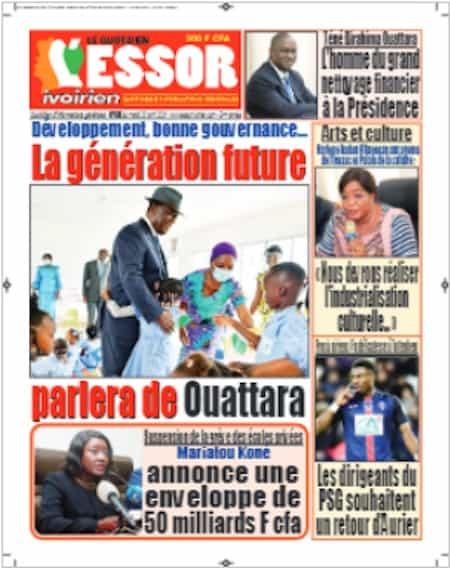 L'Essor ivoirien, Titrologie du 20 avril 2021