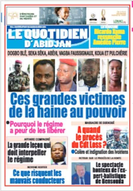 Le Quotidien d'Abidjan, Titrologie du 20 avril 2021