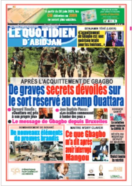 Le Quotidien d'Abidjan, Titrologie du 6 avril 2021