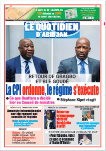 Le Quotidien d'Abidjan, Titrologie du 8 avril 2021 - Titrologue
